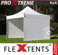 Carpa plegable FleXtents 4x4m Blanco, Incl. 4 lados