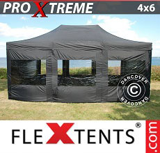 Carpa plegable FleXtents 4x6m Negro, Incl. 8 lado