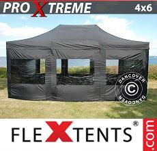 Carpa plegable FleXtents 4x6m Negro, Incl. 8 lado
