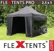 Carpa plegable FleXtents 2,5x5m Negro, incl. 6 lados
