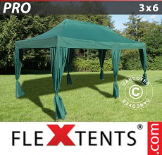 Carpa plegable FleXtents 3x6m Verde, incluye 6 cortinas decorativas