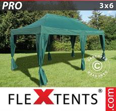 Carpa plegable FleXtents 3x6m Verde, incluye 6 cortinas decorativas