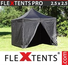 Carpa plegable FleXtents 2,5x2,5m Negro, incl. 4 lados