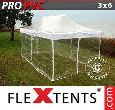 Carpa plegable FleXtents 3x6m Transparente, Incl. 6 lados
