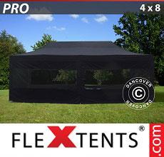 Carpa plegable FleXtents 4x8m Negro, incl. 6 lados