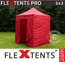 Carpa plegable FleXtents 2x2m Rojo, incl. 4 lados