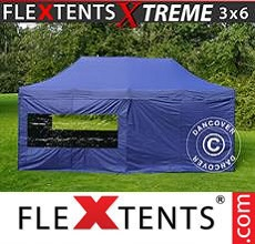 Carpa plegable FleXtents 3x6m Azul oscuro, Incl. 6 lados