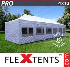 Carpa plegable FleXtents 4x12m Blanco, Incl. lados