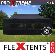 Carpa plegable FleXtents 4x8m Negro, Incl. 6 lado