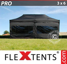 Carpa plegable FleXtents 3x6m Negro, incl. 6 lados