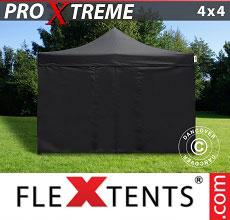 Carpa plegable FleXtents 4x4m Negro, Incl. 4 lado