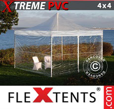 Carpa plegable FleXtents 4x4m Transparente, Incl. 4 lados