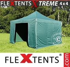 Carpa plegable FleXtents 4x4m Verde, incl. 4 lados