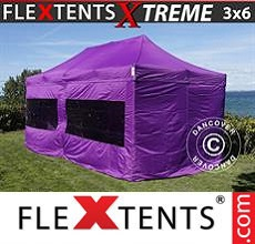 Carpa plegable FleXtents 3x6m Morado, Incl. 6 lados