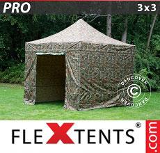 Carpa plegable FleXtents 3x3m Camuflaje, Incl. 4 lados