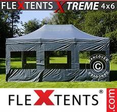 Carpa plegable FleXtents 4x6m Gris, Incl. 8 lados