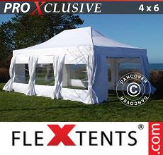 Carpa plegable FleXtents 4x6m Blanco, incl. 8 lados & cortinas decorativas