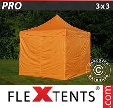 Carpa plegable FleXtents 3x3m Naranja, Incl. 4 lados