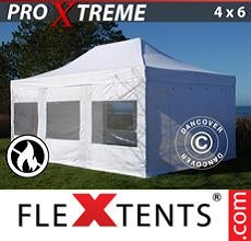 Carpa plegable FleXtents 4x6m Blanco, Ignífuga, Incl. 4 lados