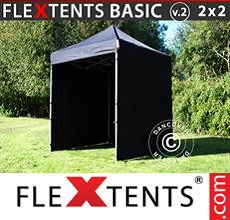 Carpa plegable FleXtents 2x2m Negro, Incl. 4 lados