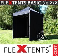 Carpa plegable FleXtents 2x2m Negro, Incl. 4 lados