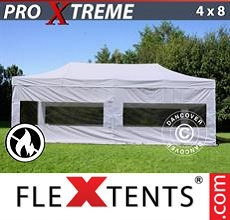 Carpa plegable FleXtents 4x8m Blanco, Ignífuga, Incl. 4 lados