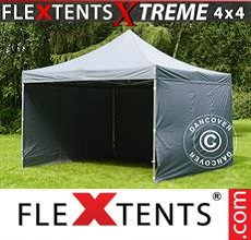 Carpa plegable FleXtents 4x4m Gris, incl. 4 lados