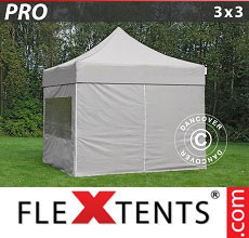 Carpa plegable FleXtents 3x3m Latte, Incl. 4 lados