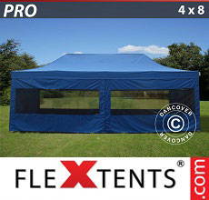 Carpa plegable FleXtents 4x8m Azul, incl. 6 lados