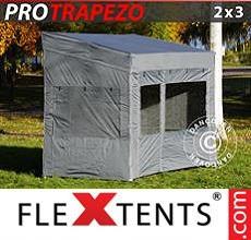 Carpa plegable FleXtents Trapezo 2x3m Gris, Incl. 4 lados