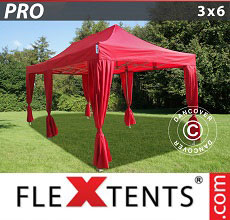 Carpa plegable FleXtents 3x6m Rojo, incl. 6 cortinas decorativas