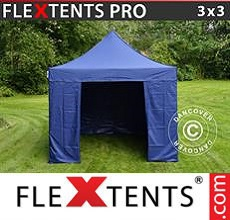 Carpa plegable FleXtents 3x3m Azul oscuro, Incl. 4 lados