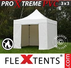 Carpa plegable FleXtents 3x3m, Blanco incl. 4 lados