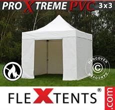 Carpa plegable FleXtents 3x3m, Blanco incl. 4 lados