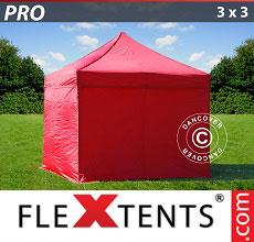 Carpa plegable FleXtents 3x3m Rojo, Incl. 4 lados