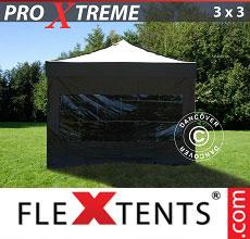 Carpa plegable FleXtents 3x3m Negro, Incl. 4 lado