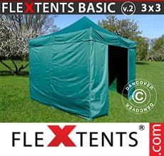 Carpa plegable FleXtents 3x3m Verde, Incl. 4 lados