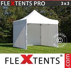Carpa plegable FleXtents 3x3m Blanco, Incl. 4 lados