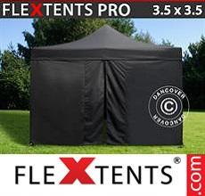 Carpa plegable FleXtents 3,5x3,5m Negro, incl. 4 lados