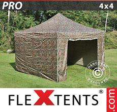 Carpa plegable FleXtents 4x4m Camuflaje, Incl. 4 lados