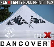 Cubierta de techo impresa con cenefa para carpa plegable FleXtents® PRO 3x3m