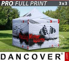 Carpa plegable FleXtents PRO con impresión digital completa, 3x3m, incluye 4...