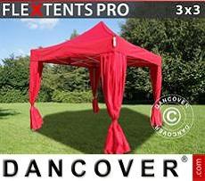 Carpa plegable FleXtents PRO 3x3m Rojo, incluye 4 cortinas decorativas