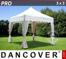 Flextents Carpas Eventos 3x3m Blanco, incl. 4 cortinas decorativas