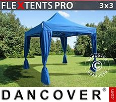 Flextents Carpas Eventos 3x3m Azul, incluye 4 cortinas decorativas