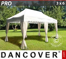 Flextents Carpas Eventos 3x6m Blanco, incl. 6 cortinas decorativas