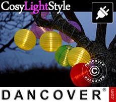 Cadena de luces con 15 bolas, 17m, Multicolor