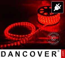 Corda de luces LED, 50m, Ø1,2cm, Multifunción, Rojo