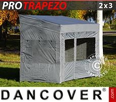 Carpa plegable FleXtents PRO Trapezo 2x3m Gris, Incl. 4 lados