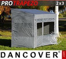 Carpa plegable FleXtents PRO Trapezo 2x3m Gris, Incl. 4 lados